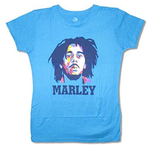 Bob Marley Modern Portrait Turquoise Juniors Babydoll Shirt (3X)