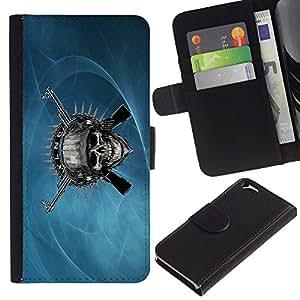 KLONGSHOP // Tirón de la caja Cartera de cuero con ranuras para tarjetas - Cráneo malvado y armas de metal - Apple Iphone 6 //