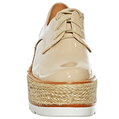Nude Platform Oxford Shoes Creeper Women's Lace up xY7w1x5q