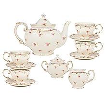 Gracie China by Coastline Imports 11-Piece Porcelain Petite Fleur Tea Set, Pink