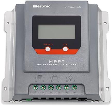 20A Solar MPPT Laderegler mit Display für 12-24V Solarsysteme mit auto-Erkennung, max. Solarmodulspannung 55V, normaler Modus und D2D Modus für Außenbeleuchtung, Solarregler Controller esotec 140014