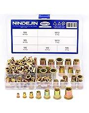 NINDEJIN 166Pcs Mixed Carbon Steel Rivet Nut,Rivnuts Yellow Zinc Plated Finish, Yellow Zinc Plated Finish, Flat Head Threaded Insert Nutsert Assortment Kit Assort.