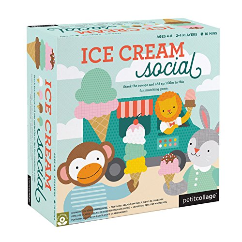 Petit Collage Ice Cream Social: Stack The Scoops and Add Sprinkles in This Fun Matching Card -