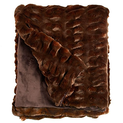 Fabulous Furs  Faux Fur Luxury Throw Blanket  Mahogany Mink  Available In Generous Sizes 60 X60   60 X72  And 60 X86   By Donna Salyers