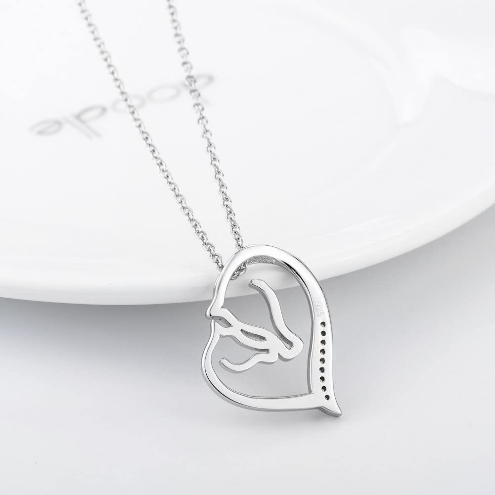 YFN 925 Sterling Silver Horseshoe Girl and Horse Ponny Heart Pendant Horse Necklace Unicorn Necklace and Earrings Jewellery Gifts for Women Girls