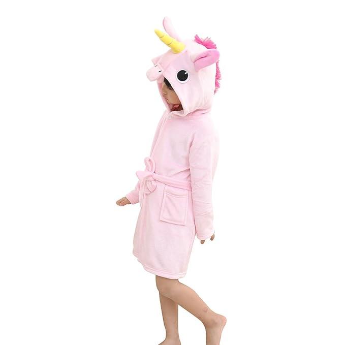 507c624af Amazon.com  Toddler Pink Unicorn Bath Robe Girls Boys Fleece Hooded ...