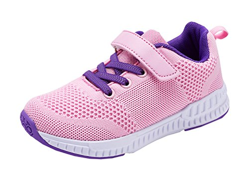 Casbeam Toddler Kids Velcro Sneakers Boys and Girls Walking Running Shoes Pink (Performance Velcro Shoe)