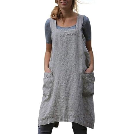 Amazon.com: Lucy Super - Delantal de algodón y lino para ...