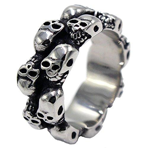 LILILEO Jewelry 8mm Silver Black Stainless Steel Vintage Finger Rings Halloween 3D Skull Heads For Men's Ring -