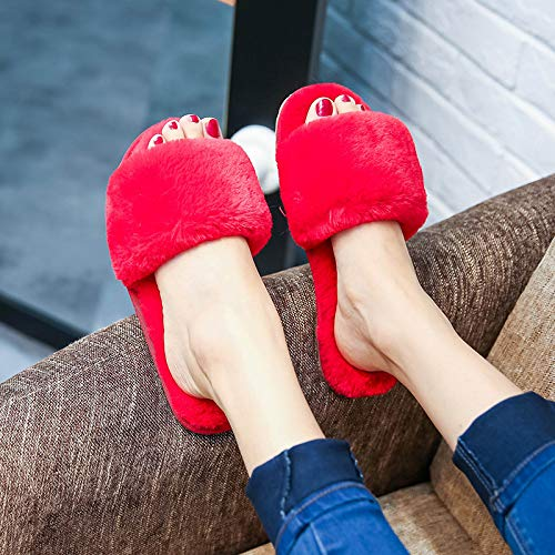Qsy Pantoufles Mot En Femme Plate Parfumé Un Maison Shoe Rouge Peluche 6rq5O6