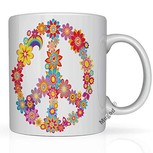 Mugod Flower Coffee Mug Colorful Peace Flower Symbol with Hippie Symbolic 11 Oz White Ceramic Glossy Funny Mug Tea Cup with Large C-Handle (White)