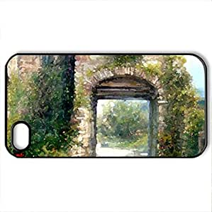Villa Hideaway - Case Cover for iPhone 4 and 4s (Houses Series, Watercolor style, Black)