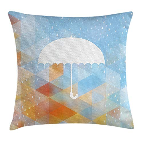 ZninesOnhOLD Farmhouse Decor Throw Pillow Cushion Cover, Umbrella Figure on Foreground with Fractal Geometric Diagonal Computer Collage, Decorative Square Accent Pillow Case, 18 X 18 Inches, Multi