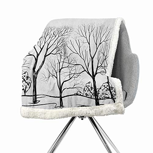- Khakihome Landscape Blanket Small Quilt 60 by 47 Inch Fashion Design Black WhiteTree Without Leaves Forest Branches Hand Drawn Illustration Autumn Landscape