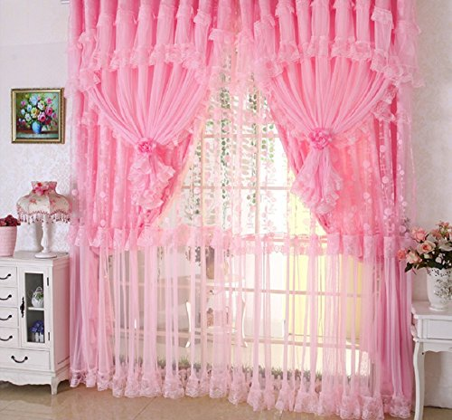 Comforbed Jacquard Princess 4-Layer Ruffle Lace Embroidered Tulle Window Curtains Valances Panel Sheer for Living Room Bedroom Wedding Home Decor 118'' x 110'' (Style1, Pink) by Comforbed