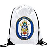 Large Drawstring Bag with US Navy USS New York (LPD 21), (crest) - Long lasting vibrant image