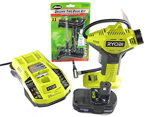 Ryobi P737 18-Volt ONE+ Power Inflator with Charger, Lithium-ion battery and Slime Deluxe Reamer/Plugger Kit-Pistol Grip Style (Bundle)