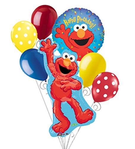 - 7 pc Elmo Happy Birthday Balloon Bouquet Party Decoration Sesame Street Friend