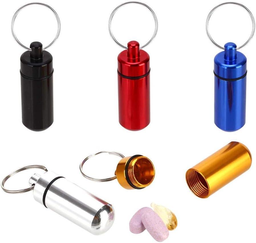 Voyage Mini bo/îte /à pilules /étanche Bouteille de m/édicaments Porte-cl/és en m/étal Porte-cl/és de Rangement Porte-cl/és en Plein air Lot de 5