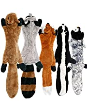 No Stuffing Dog Toys with Squeakers, Durable Stuffingless Plush Squeaky Dog Chew Toy Set ,Crinkle Dog Toy for Medium and Large Dogs, 5 Pack(Squirrel Raccoon Fox Skunk and Penguin), 24Inch