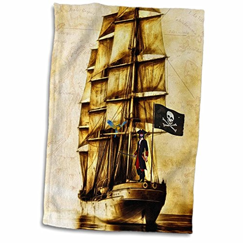 3D Rose Vintage Pirate Ship with Parrot and Old World Map Hand Towel, 15