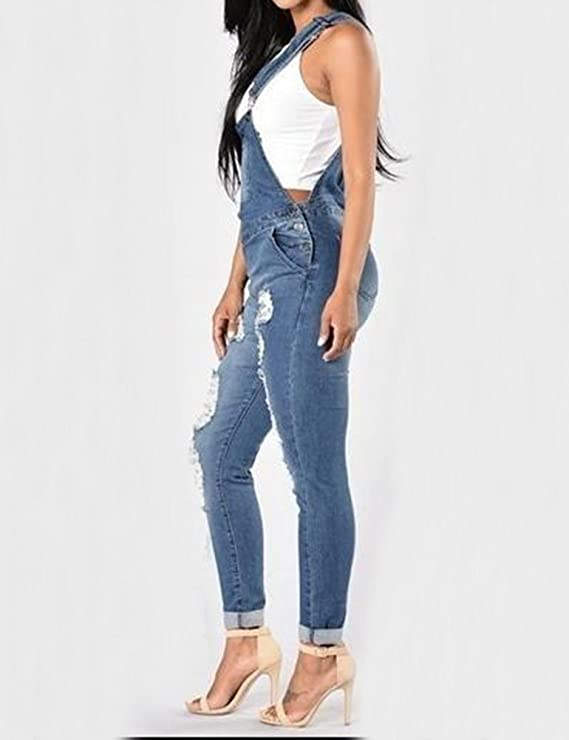 b322ffd222 SCX Women Overalls Summer Hole Denim Bib Pants Sling Trousers Pants Denim  Jumpsuit Jeans at Amazon Women s Clothing store