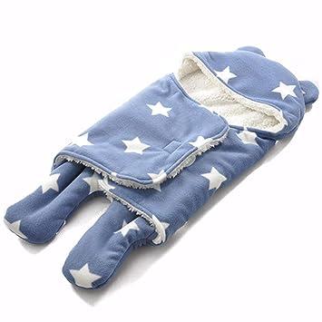Queta Manta bebé recién Nacido bebé Saco de Dormir Manta para Asiento de Coche y Viaje Doble Capa Full poliéster impresión Manta de Felpa Blue Five-Pointed ...