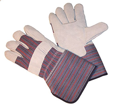 Gloves Palm Leather Cuff (G & F 5025 Extra Long Cuff (4 1/2 Inch) Leather Palm Work Gloves, Gloves for Driving and Construction, Large)