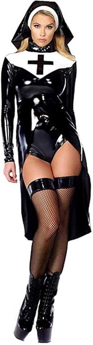 WONDER BEAUTY Femme Cuir Costume de Religieuse 3 Pi/èces Wetlook Cosplay D/éguisement Halloween