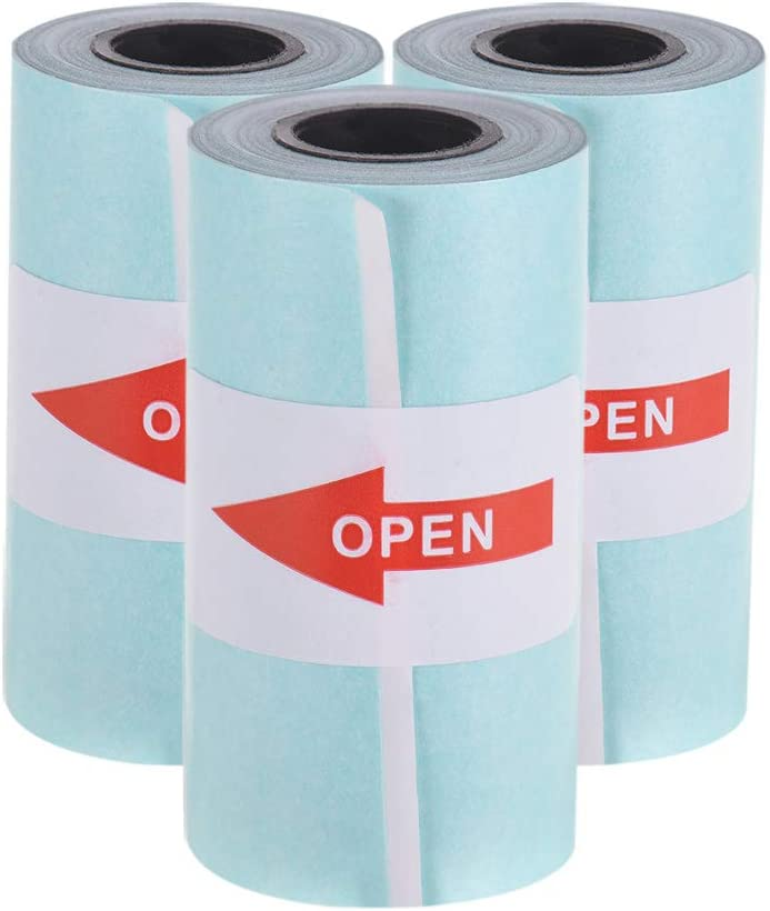 Aibecy - Rollo de papel adhesivo (57 x 30 mm) para impresora térmica de bolsillo PeriPage A6 PAPERANG P1/P2 Mini Photo Printer, 3 Rolls,Blanco