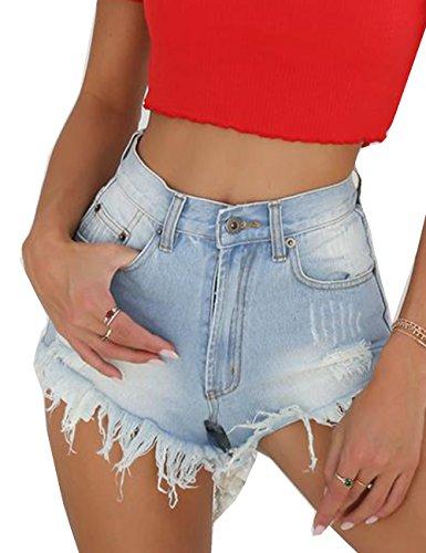 Women's Denim Shorts High Waisted Fashion Cut Off Short Jeans Pants Light Blue - Short Blue Cut Off