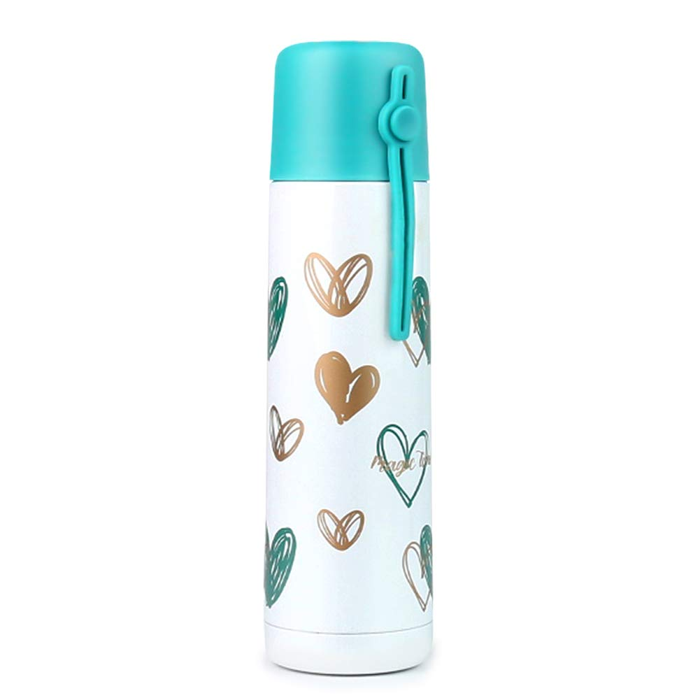 Thermoskanne mit Becher Thermosflasche 500ml Edelstahl Trinkflasche Vakuum Isolierkanne mit Becher Wasserflasche mit Lanyard, Weiß Herzförmiger