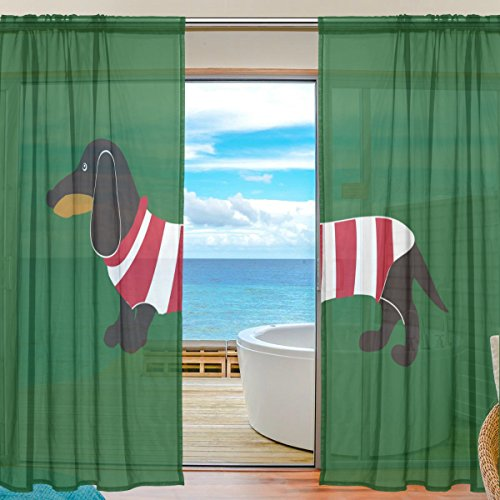 SEULIFE Window Sheer Curtain, Animal Dog Dachshund Stripe Voile Curtain Drapes for Door Kitchen Living Room Bedroom 55x78 inches 2 Panels by SEULIFE