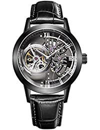 Luxury Skeleton Watches for Men Genuine Leather Strap...