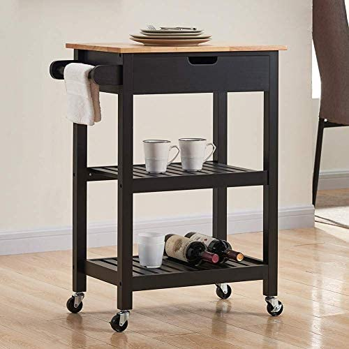 Coniffer Kitchen Island Microwave Rolling Cart on Wheels White with Storage for Dining Rooms Kitchens and Living Rooms Black