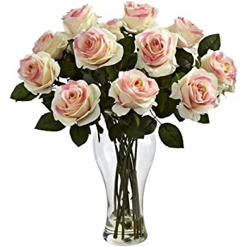 Nearly Natural 1328-LP Blooming Roses with Vase, Light Pink