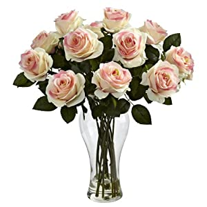 Nearly Natural 1328-LP Blooming Roses with Vase, Light Pink 102