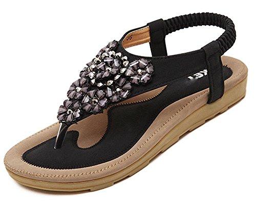Maybest Womens's Summer Flower Rhinestone T-Strap Slingback Thong Sandals Bohemian Flip Flops (Flower Slingback)