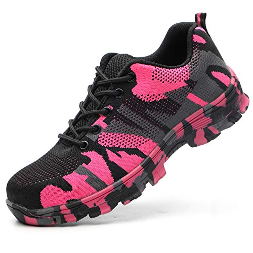 JACKSHIBO Steel Toe Work Shoes for Men Women Safety Shoes Breathable Industrial Construction Shoes Camouflage Pink 9.5 Women/8 - Camouflage Pink Womens