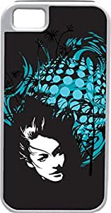 iPhone 4 4S Cases Customized Gifts Cover Woman's serious face peering through black background with light blue abstract design