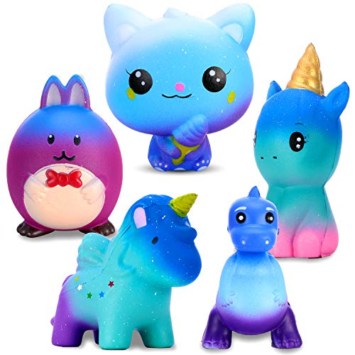 EKOOS Galaxy Squishy 5 pcs Starry squishys Include Cat, Rabbit, Elf, Unicorn, Dinosaur, Kawaii Cream Scented Slow Rising squishies Kids Toy, Stress Relief Toy, Decorations Gift. ()