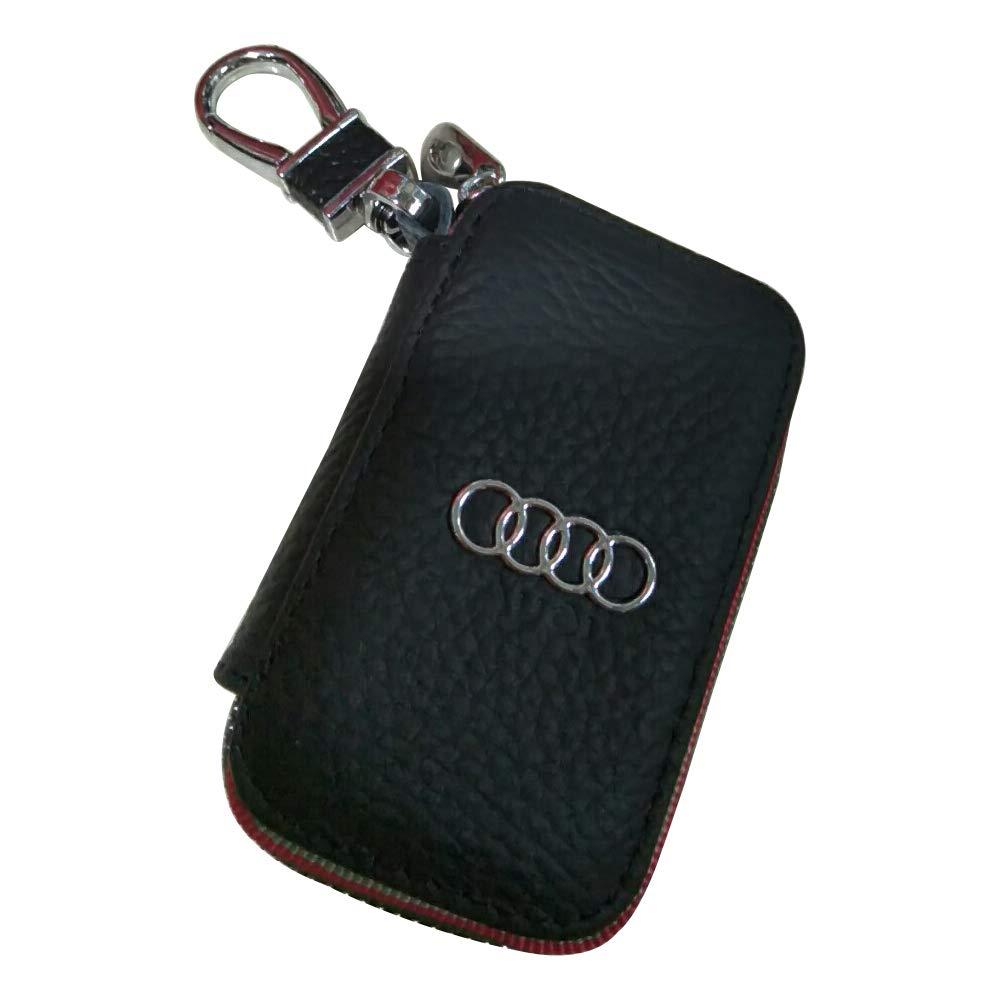 1pc Black Premium Leather Wallet Zipper Case Keychain Coin Holder Metal Hook Bag for Audi Car Model