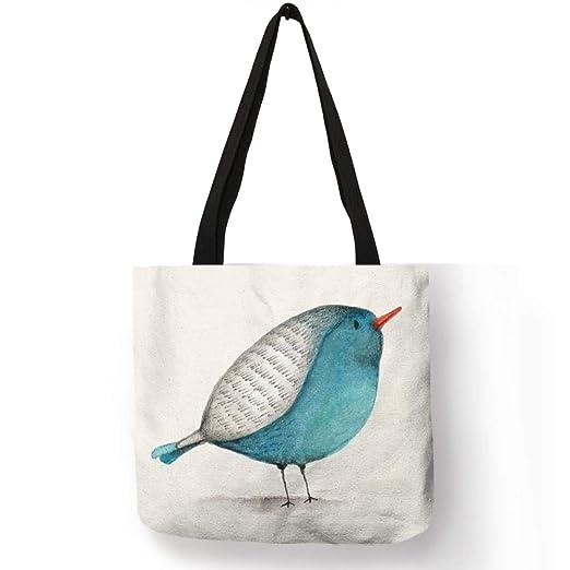 Yichener Bolsa de Lino con Estampado de pájaros para Mujer ...