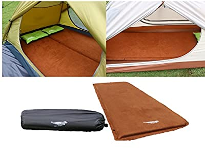 Luxe Tempo 2 inch Self Inflating Sleeping Pad Luxurious Car Camping Mattress Tent Sleeping Mat Wide Non Slip Cozy Suede with Great Cushion
