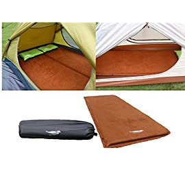 Luxe Tempo 1.5-2 inch Camping Mattress Suede Self Inflating Sleeping Pad Tent Sleeping Mat Wide Non Slip Cozy Suede with… 3 Advanced Material - Non-Slip Microfiber suede achieves a pillowy soft sleeping surface and can work with any sleeping bag to provides warmth and silent sleep while keeping them in place even if you are a restless sleeper;Abrasion-Resistant Reinforced Polyester bottom greatly increases the pad durability Unrivaled Home-style Comfort,Stability and Support- Filled with High-Grade polyurethane open cell foam with expanding core ;2 inches cushioning is fully attached to the surface and the air will evenly permeate throughout the whole pad instead of ballooning at certain spots, and provides reliable insulation from the cold hard ground;27.5 width fits most body figures Non-corrosive High Volume BRASS VALVE allows for easy inflation and super fast deflation,and performs well even in frozen environment;Wide Welded seams for extra durability and prevents air leak