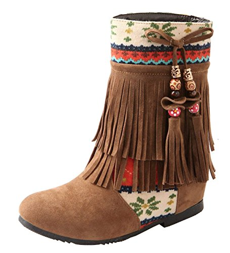 Vitalo Womens Low Wedge Heel Fringe Ankle Boots Embroidered Bow Booties Brown