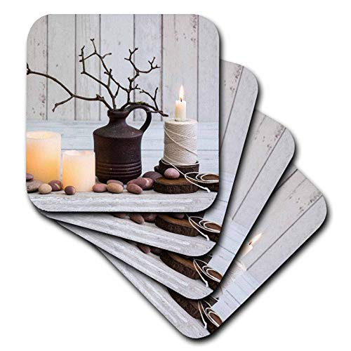 (3dRose Andrea Haase Christmas Photography - Winterly Still Life Photography With Candles And Twigs In Vase - set of 8 Ceramic Tile Coasters (cst_318591_4))