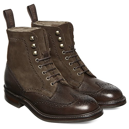 Cheaney Amelia R Ladies Fur Lined Country Boot in Walnut Grain Leather/Plough Suede Walnut KRb7H