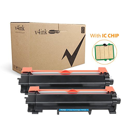 V4INK (with IC CHIP) New Compatible Brother TN730 TN760 High Yield Black Toner Cartridge for Brother HL-L2350DW HL-L2390DW HL-L2395DW HL-L2370DW DCP-L2550DW MFC-L2710DW MFC-L2730DW MFC-L2750DW 2Pack