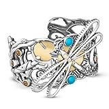 Fritz Casuse Mixed Metal Multi Gemstone Dragonfly Cuff Bracelet